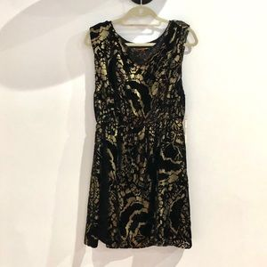 NWT FESTIVE ALICE +OLIVIA GOLD AND VELVET DRESS